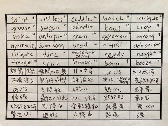 単語シート